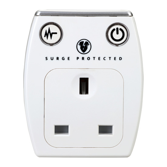 Surge Protected 1 Socket Plug Adapter with USB