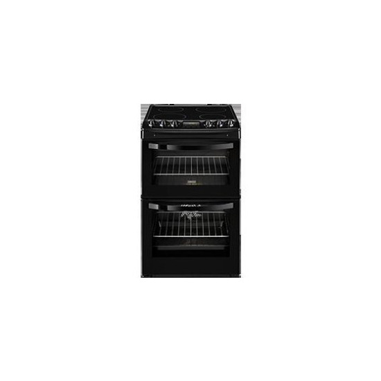 Zanussi ZCV46200BA 55cm Double Oven Electric Cooker With Ceramic Hob
