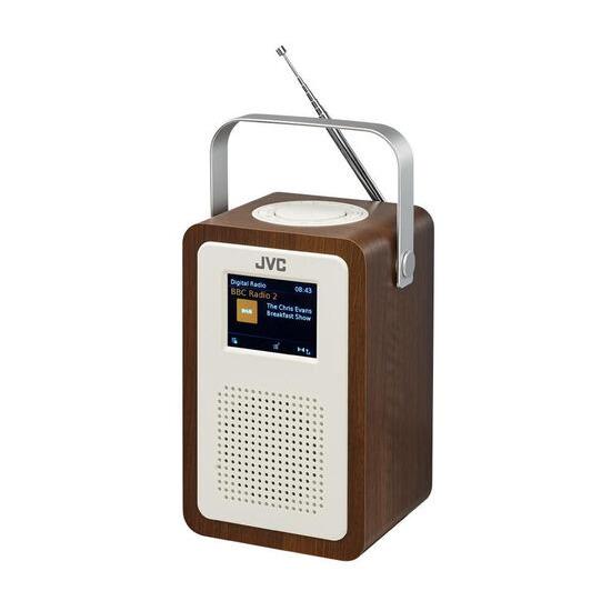 JVC RA-D57 Portable DAB+ Clock Radio - Wood & Cream