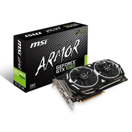 MSI GeForce GTX 1060 ARMOR 6G OC 6GB GDDR5 Dual -Link DVI-D HDMI 3x DisplayPort PCI-E Graphics Card