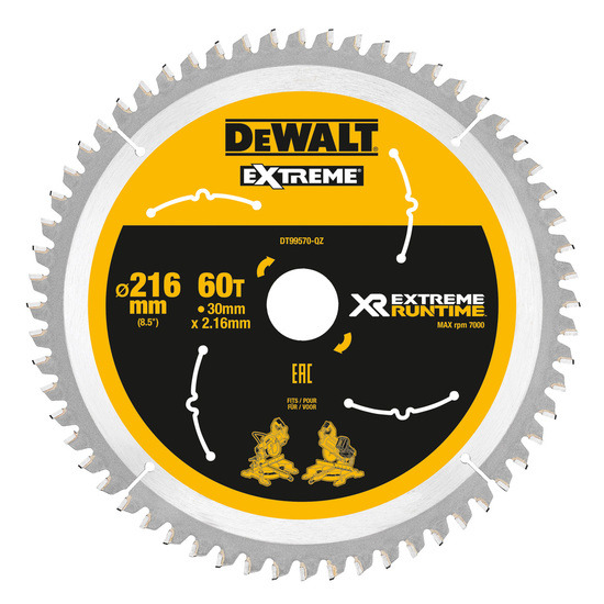 Dewalt DT99570 XR Extreme Runtime Mitre Saw Blade 216mm x 30mm x 60T