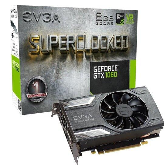 EVGA GeForce GTX 1060 SC 6GB GDDR5 DVI-D HDMI 3x DisplayPort PCI-E Graphics Card