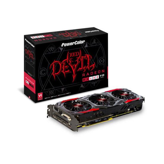 PowerColor Radeon RX 480 RED DEVIL 8GB GDDR5 Dual-Link DVI-D HDMI 3x DisplayPort PCI-E Graphics Card