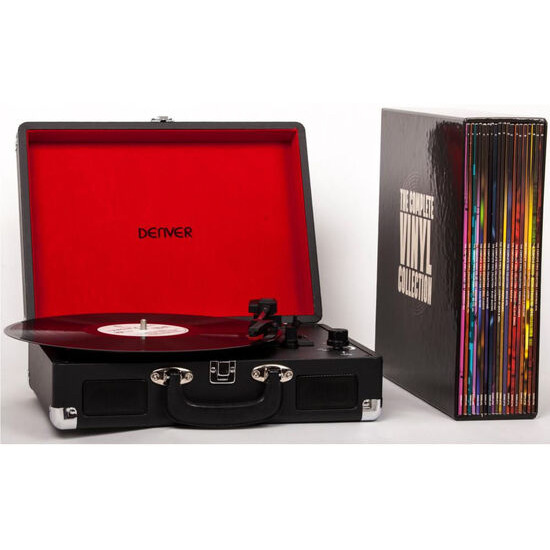 The Complete Vinyl Collection Portable USB Turntable with 20 Vinyl Records - Black