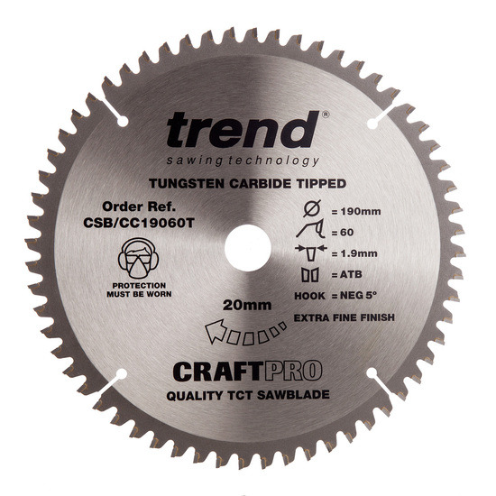 Trend CSB/CC19060T CraftPro Saw Blade Crosscut 190mm x 60 Teeth
