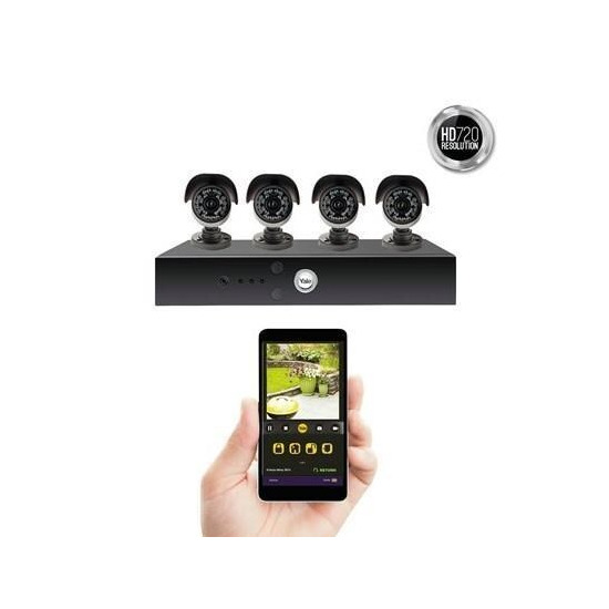 Yale Smart Living HD720 8 Channel 4 Camera 1TB Hybrid DVR CCTV System