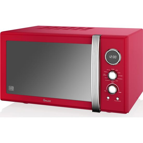 Swan SM22080RN Retro Digital Microwave with Grill - Red