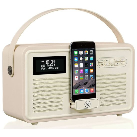 VIEWQUEST  Retro Mk II Portable DAB+/FM Bluetooth Clock Radio - Cream