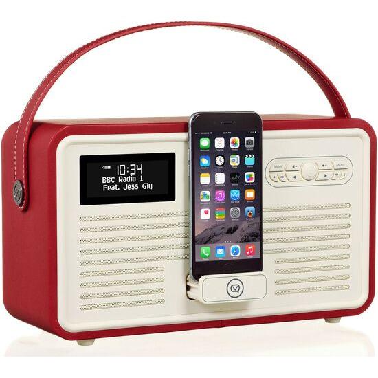VIEWQUEST  Retro Mk II Portable DAB+/FM Bluetooth Clock Radio - Red