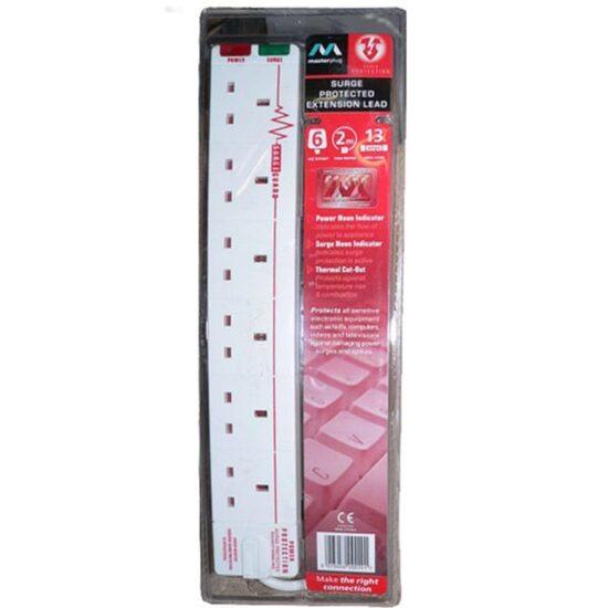 Masterplug 6 socket 2m extension cord