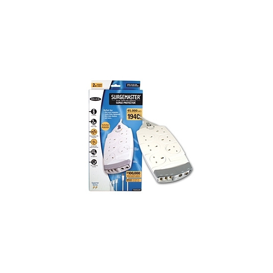 Belkin 6 Way Surge Protector with a 2m Power Cord Spoiler Series