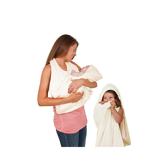 Clevamama Splash and Wrap Apron Baby Bath Towel - Cream