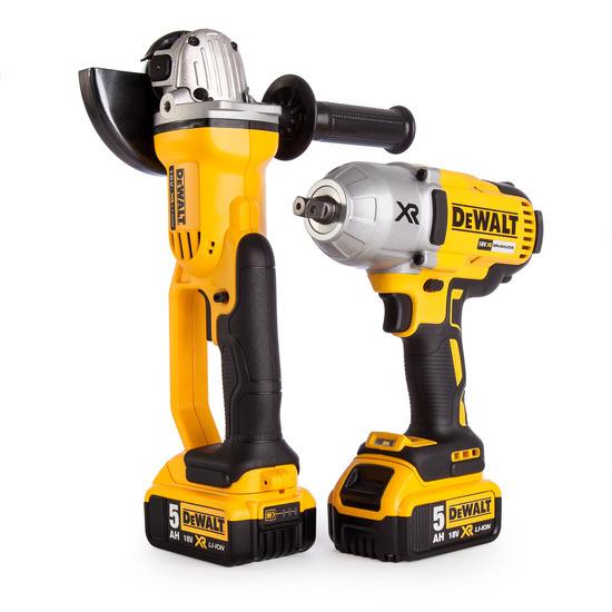 Dewalt DCK269P2-GB 18V DCF899 Imp Wrench + DCG412 Grinder (2 x 5.0 Batts)