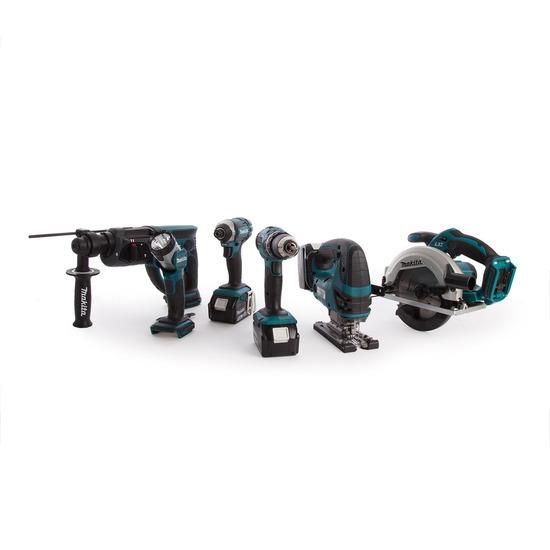Makita DLX6068PT 18V 6 Piece Cordless Kit (3 x 5.0Ah Batteries) + Twin Charger
