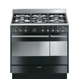 Smeg Concert 90 cm Dual Fuel Range Cooker - Black & Stainless Steel Reviews