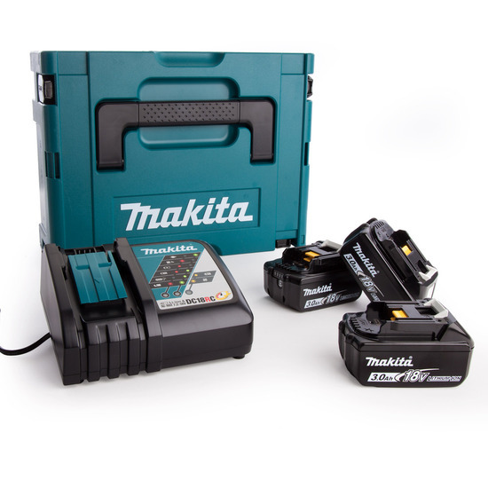 Makita 3 x BL1830B + DC18RC + 821550-0