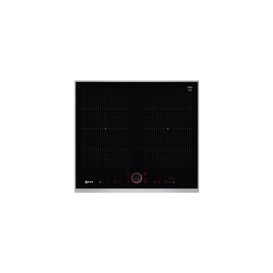 Neff T66TS61N0 59cm TwistPad Fire Control Four Zone Induction Hob With 2 FlexInduction Zones Black With Stainless Steel Frame