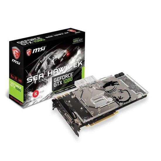 MSI GeForce GTX 1080 Sea Hawk EK X 8GB GDDR5X Dual-Link DVI-D HDMI 3x DisplayPort PCI-E Graphics Card