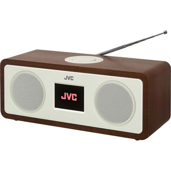 JVC RA-D77M DAB+/FM Bluetooth Clock Radio - Wood & Cream