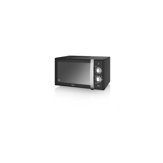 Swan SM22130BN 20L Retro Manual Microwave Black