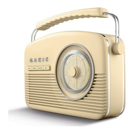 AKAI A60010CDABBT Portable DAB+/FM Retro Bluetooth Clock Radio - Cream