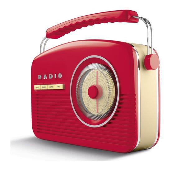 AKAI A60010RDABBT Portable DAB+/FM Retro Bluetooth Clock Radio - Red