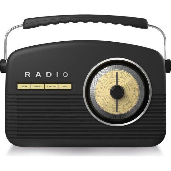 AKAI A60010DABBT Portable DAB+/FM Retro Bluetooth Clock Radio - Black