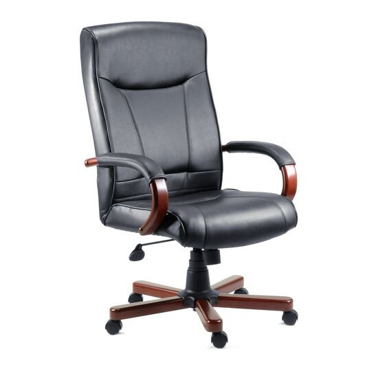 Teknik 85 Series 8511HLW Bonded-leather Reclining Executive Chair - Kingston Black & Mahogany