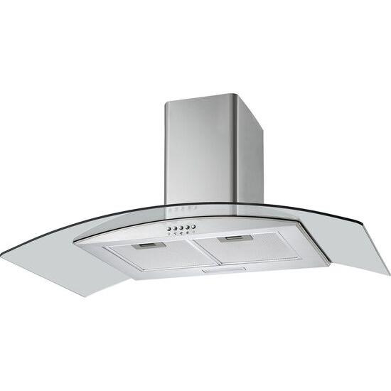 LOGIK L90CHDG17 Chimney Cooker Hood - Stainless Steel & Glass