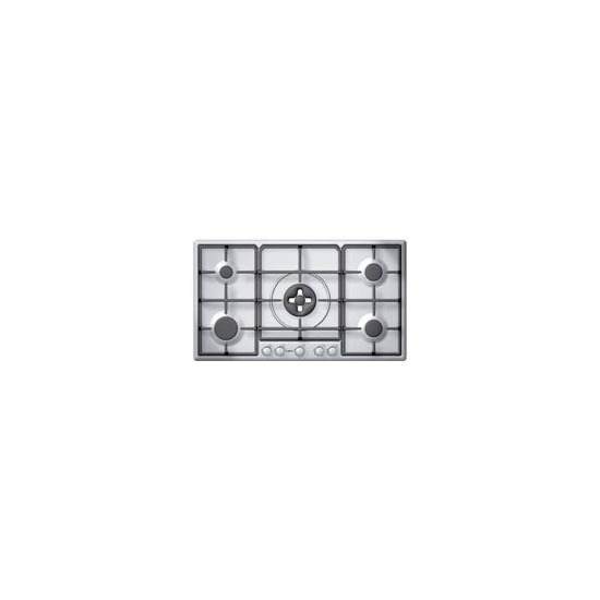 90cm 5 Burner Gas Hob - Brushed Steel