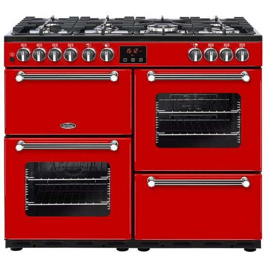 Belling Kensington 100DFT Dual Fuel Range Cooker Red Chrome