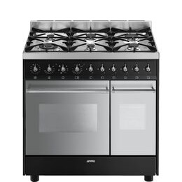 SMEG C92DBL8 Dual Fuel Range Cooker - Stainless Steel & Black
