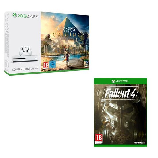 Microsoft Xbox One S with Fallout 4 & Assassin's Creed Origins