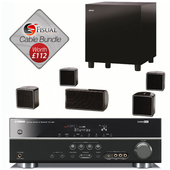 Jamo A102 HCS5 Speaker Package And Yamaha RX-V367 AV Receiver With Free Cable Pack