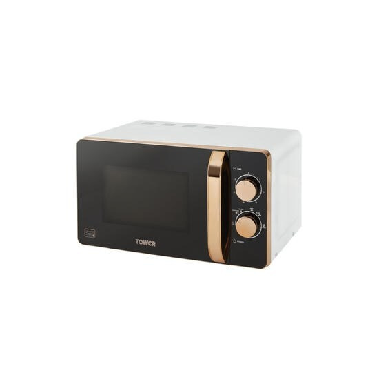 Tower T24020W 20L 800W Freestanding Microwave - Rose Gold & White