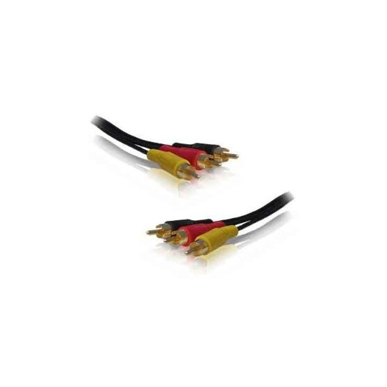Cable-Tex Triple 3x RCA Cable Gold Phono Audio Video Lead 1.2 m