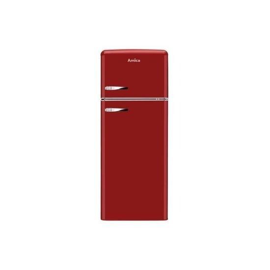 Amica FDR2213R 144x55cm 208L Freestanding Top Mount Fridge Freezer - Red