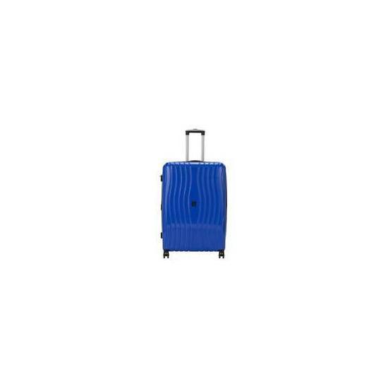 IT Luggage 8 Wheel Hard Metallic Blue Suitcase