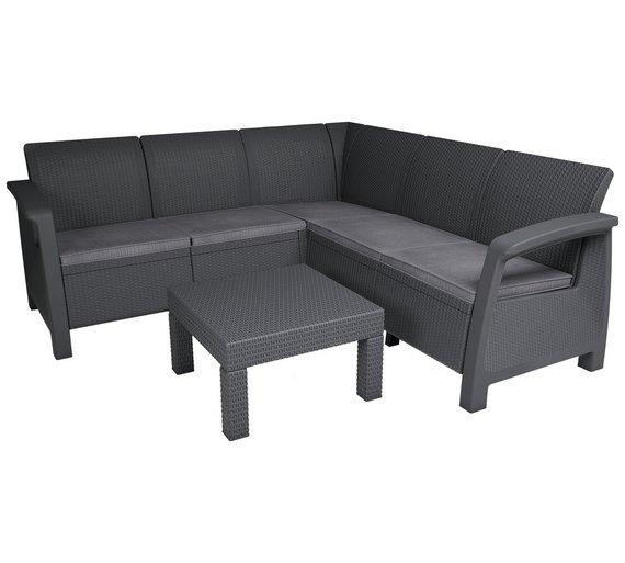 Rattan 5 Seater Sofa Set: Keter Bahamas 5 Seater Rattan Effect Corner Sofa Set