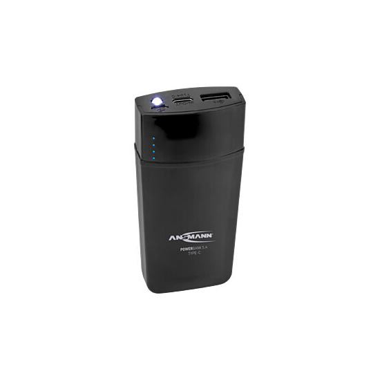 Ansmann Powerbank 5.4 5000mAh Ultra Fast Type C Rechargeable Battery Pack with LED Light - Black