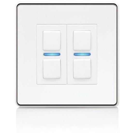 Lightwave Smart Series Dimmer (2 Gang) White Metal