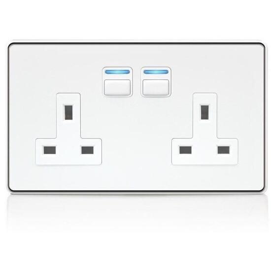 Lightwave Smart Series Socket (2 Gang) White Metal