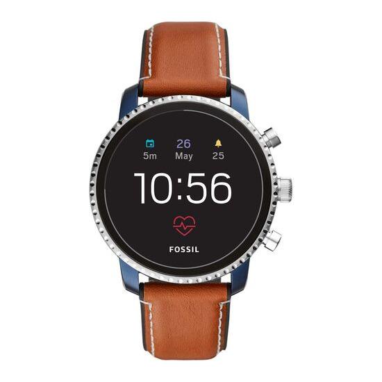 Fossil Q Explorist HR FTW4016 Smartwatch - Blue & Silver, Leather Strap