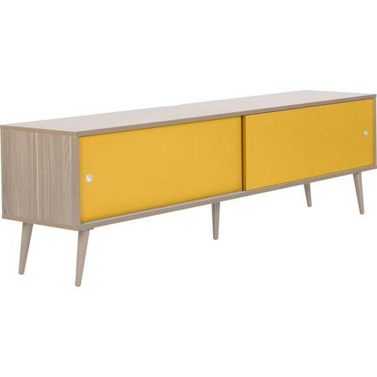 Retro 1800 mm TV Stand - Oak & Yellow