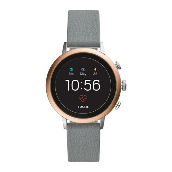 Fossil Q Venture FTW6016 Smartwatch - Rose Gold, Grey Silicone Strap