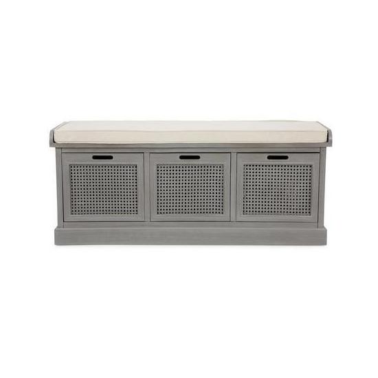 Lucy Cane Grey Storage Bench