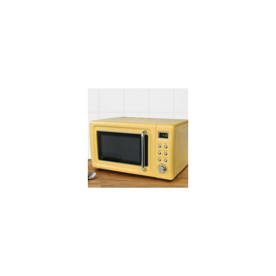 Retro 20L 800W Yellow Digital Microwave