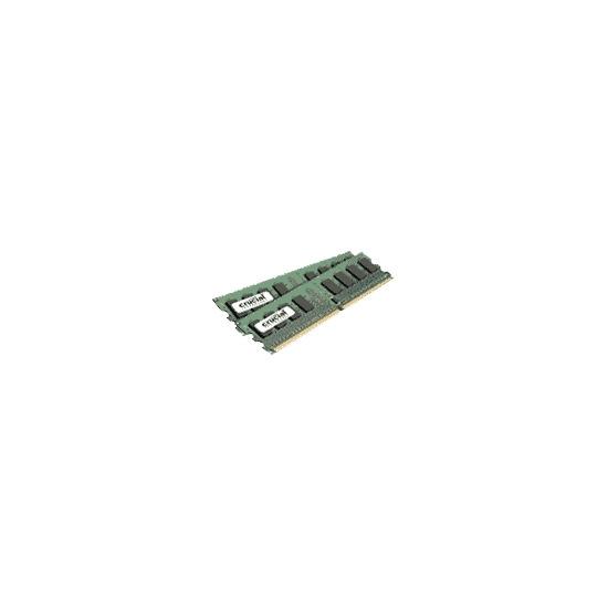 Crucial - Memory - 4 GB ( 2 x 2 GB ) - DIMM 240-pin - DDR II - 667 MHz / PC2-5300 - CL5 - 1.8 V - unbuffered - non-ECC