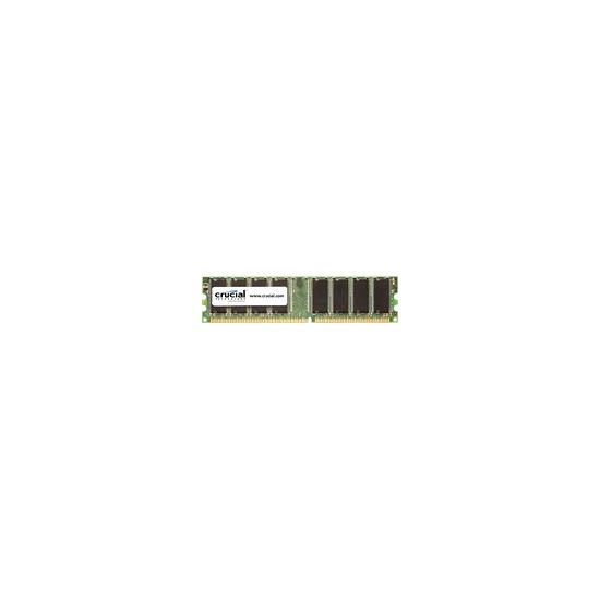 Crucial - Memory - 1 GB - DIMM 184-PIN - DDR - 400 MHz / PC3200 - CL3 - 2.6 V - unbuffered - non-ECC