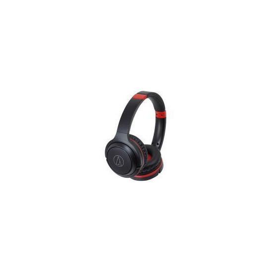Audio Technica ATH-S200BT Wireless On-Ear Headphones - Black/Red